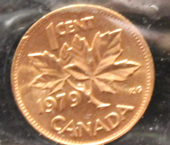 1979 CANADIAN ONE CENT ICCS MS - 66 (DOUBLE 979, RED)
