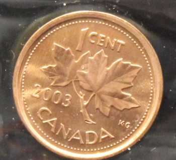 2003P CANADIAN ONE CENT ICCS MS - 67 (RED)