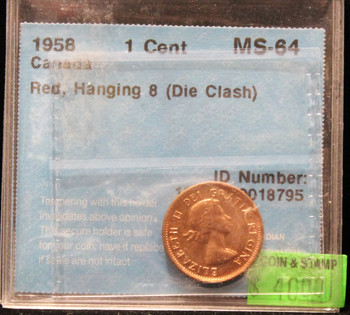1958 CANADIAN ONE CENT CCCS MS-64 (RED, HANGING 8)