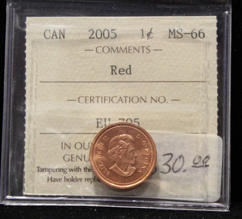 2005 CANADIAN ONE CENT ICCS MS-66 (RED)