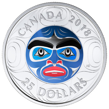 2018 $25 FINE SILVER COIN ULTRA-HIGH RELIEF COLOURED ANCESTOR MOON MASK