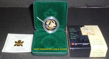2004 - STERLING SILVER & GOLD PLATED COIN - GOLDEN EASTER LILY