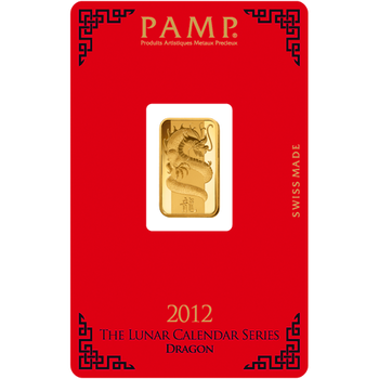 5 GRAM GOLD BAR LUNAR YEAR OF THE DRAGON - PAMP MINT