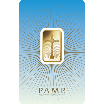 5 GRAM GOLD BAR CROSS - PAMP MINT