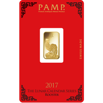 5 GRAM GOLD BAR LUNAR YEAR OF THE ROOSTER - PAMP MINT