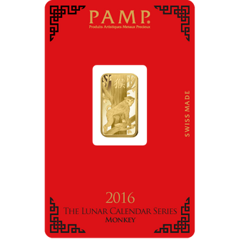 5 GRAM GOLD BAR LUNAR YEAR OF THE MONKEY - PAMP MINT