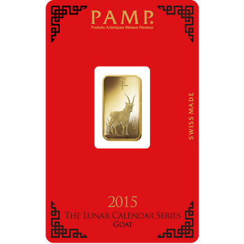 5 GRAM GOLD BAR LUNAR YEAR OF THE GOAT - PAMP MINT