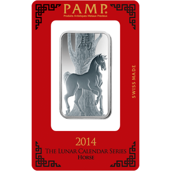 1 OZ SILVER BAR LUNAR YEAR OF THE HORSE - PAMP MINT