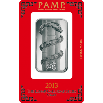 1 OZ SILVER BAR LUNAR YEAR OF THE SNAKE - PAMP MINT