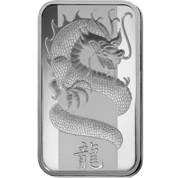 .999 1 OZ SILVER BAR LUNAR YEAR OF THE DRAGON - PAMP MINT