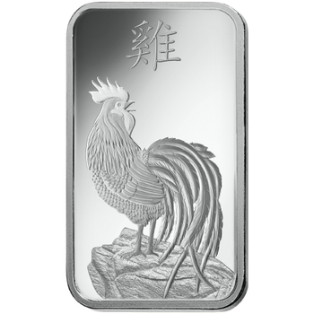 10 GRAM SILVER BAR LUNAR YEAR OF THE ROOSTER - PAMP MINT