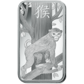 10 GRAM SILVER BAR LUNAR YEAR OF THE MONKEY - PAMP MINT