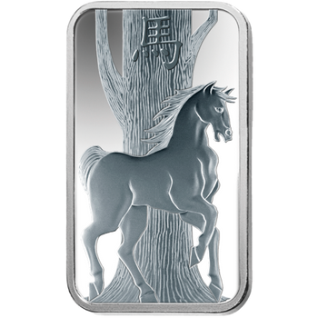 10 GRAM SILVER BAR LUNAR YEAR OF THE HORSE - PAMP MINT