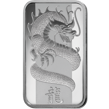 10 GRAM SILVER BAR LUNAR YEAR OF THE DRAGON - PAMP MINT