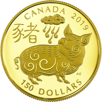 2019 $150 GOLD COIN YEAR OF THE PIG