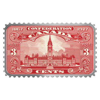 2018 $20 FINE SILVER COIN – CANADA'S HISTORICAL STAMPS: PARLIAMENT BUILDING 1927 CONFEDERATION