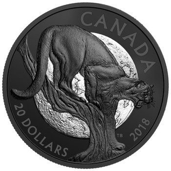 2018 $20 FINE SILVER COIN NOCTURNAL BY NATURE: CUNNING COUGAR