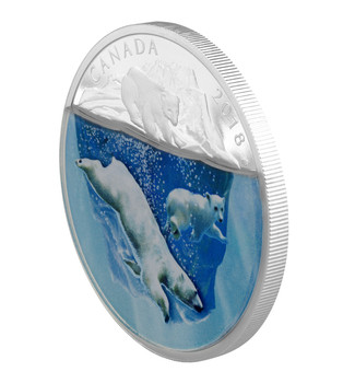 2018 $30 FINE SILVER COIN DIMENSIONAL NATURE: POLAR BEARS