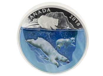 2018 $30 FINE SILVER COIN DIMENSIONAL NATURE: POLAR BEARS