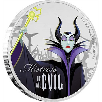 DISNEY VILLIANS: MALEFICENT - 1 OZ FINE SILVER COIN