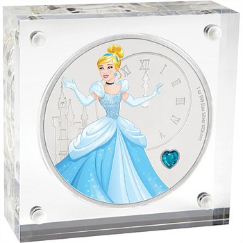 Disney Princess With Gemstone - Cinderella 1oz Silver Coin