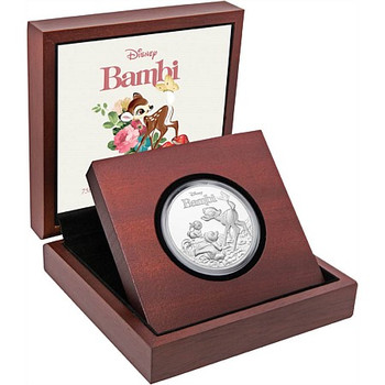 BAMBI 75TH ANNIVERSARY 1 OZ FINE SILVER COIN - DISNEY