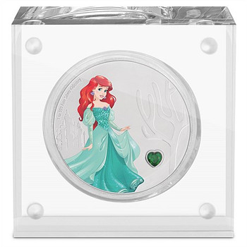 Disney Princess With Gemstone - Ariel 1oz Silver Coin