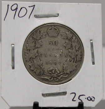 1907 CIRCULATION 50- CENT COIN - UNGRADED - AS PICTURED