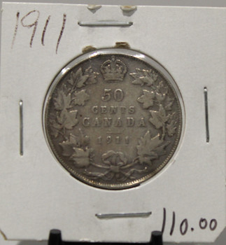 1911 CIRCULATION 50-CENT COIN - UNGRADED - AS PICTURED