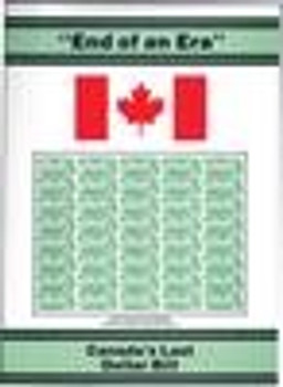 """END OF AN ERA"" CANADA'S LAST DOLLAR BILL. UNCUT SHEET 4 DOLLAR BILLS"
