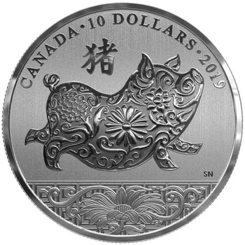 2019 $10 FINE SILVER COIN LUNAR YEAR OF THE PIG