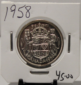 1958 CIRCULATION 50-CENT COIN - UNGRADED - AS PICTURED