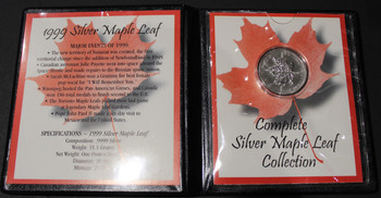 1999 SILVER MAPLE LEAF - .9999 1OZ. PURE SILVER - FIRST COMMEMORATIVE MINT FOLDER