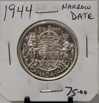 1944 CIRCULATION 50 - CENT COIN - NARROW DATE - UNGRADED - AS PICTURED
