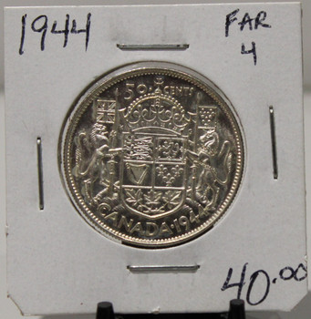1944 CIRCULATION 50 - CENT COIN - FAR 4 - UNGRADED - AS PICTURED