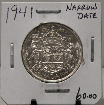 1941 CIRCULATION 50 - CENT COIN - NARROW DATE - UNGRADED - AS PICTURED
