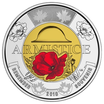 2018 $2 COMMEMORATIVE ARMISTICE TOONIE IN 2X2 FOLDER