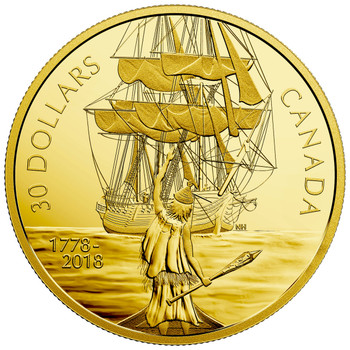 SALE - 2018 $30 FINE SILVER COIN CAPTAIN COOK AND THE HMS RESOLUTION