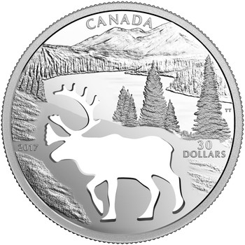 SALE - 2017 $30 FINE SILVER COIN ENDANGERED ANIMAL CUTOUT: WOODLAND CARIBOU