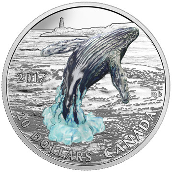SALE - 2017 $20 FINE SILVER COIN - THREE-DIMENSIONAL BREACHING WHALE