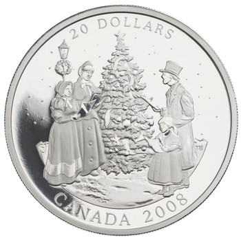 2008 $20 FINE SILVER COIN - HOLIDAY CAROLS