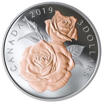 2019 $3 FINE SILVER COIN QUEEN ELIZABETH ROSE BLOSSOMS