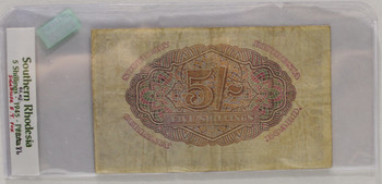 SOUTHERN RHODESIA 5 SHILLING BANKNOTE - DATED FEB 1ST 1945 - P 8b