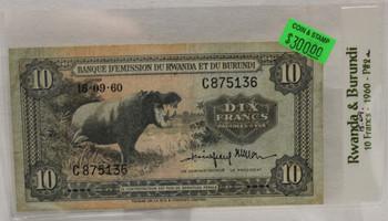RWANDA & BURUNDI 10 FRANC BANKNOTE - DATED SEPT 15 1945 - P 2a