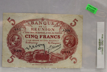 REUNION 5 FRANC BANKNOTE - LEGISLATED 1901 - DATED 1912-1944 - P 14