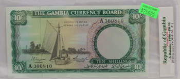 GAMBIA TEN SHILLING BANKNOTE - DATED 1965-1970 - P 16