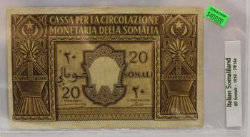 ITALIAN SOMALILAND 20 SOMALI BANKNOTE - DATED 1950 - P 14a