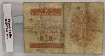 FRENCH INDIA 1 ROUPIE BANKNOTE - DATED 1945 - P 4d