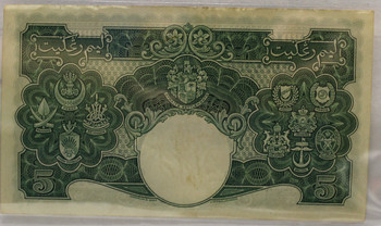 MALAYA 5 DOLLAR BANKNOTE - DATED JULY 1ST 1941