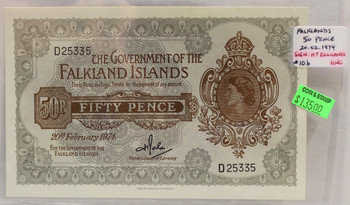 FALKLANDS 50 PENCE BANKNOTE - DATED FEB 20 1974 UNC